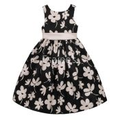 American Princess Frocks Belted Floral Shantung Dress