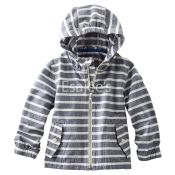 Oshkosh Boys Striped Anorak Hooded Jacket Grey & White