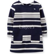 Carters Girls French Terry Striped Tunic Shirt Long Sleeves Navy White