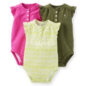 Carters 3-Pack Ruffle-Sleeve Henley Bodysuits