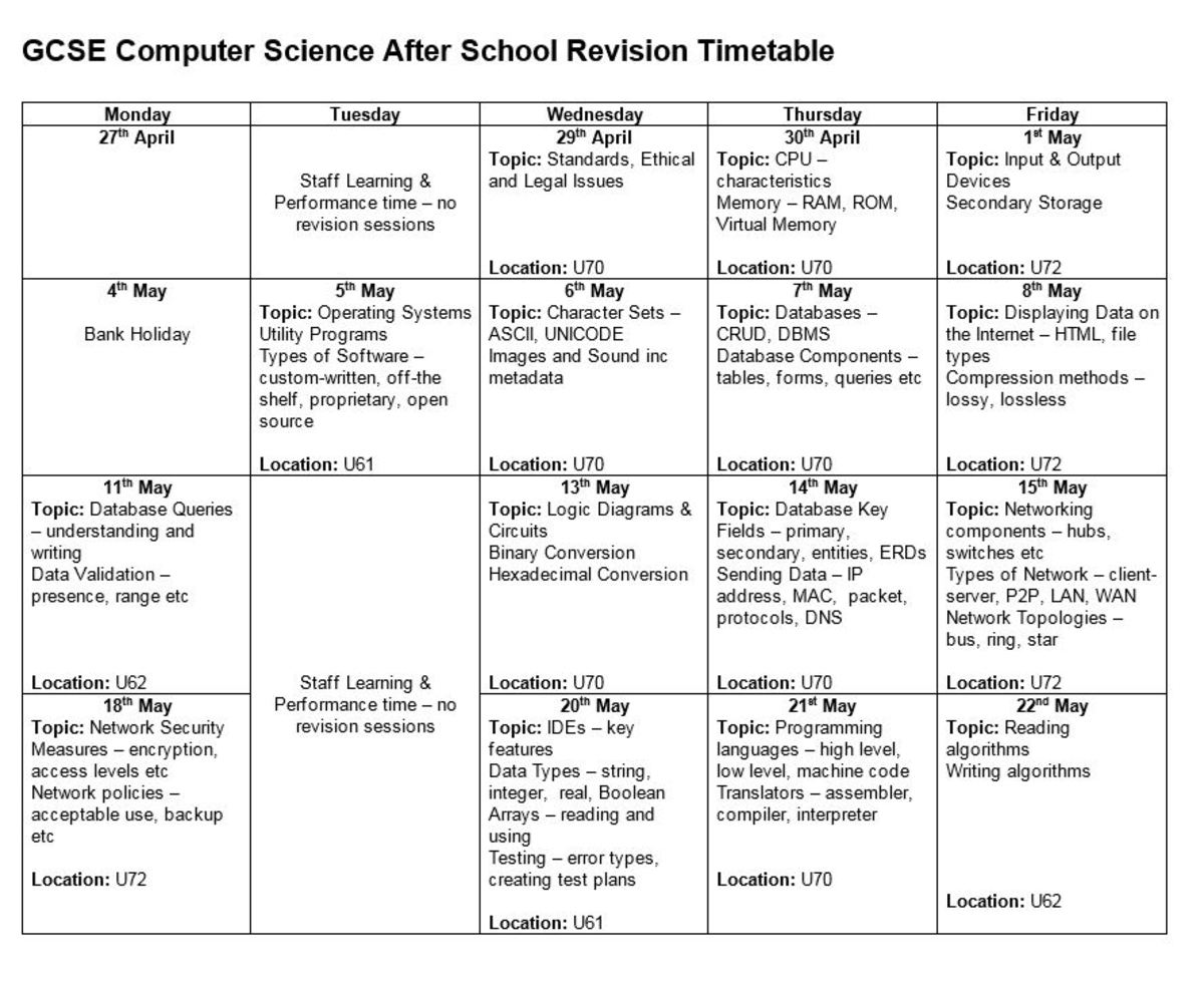 revision timetable gcse inspirenow gcse computer science revision timetable outwood grange academygcse computer science revision timetable