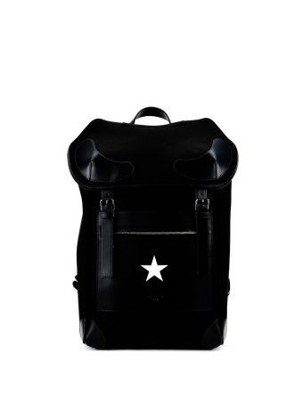 Black Star Logo Print Backpack