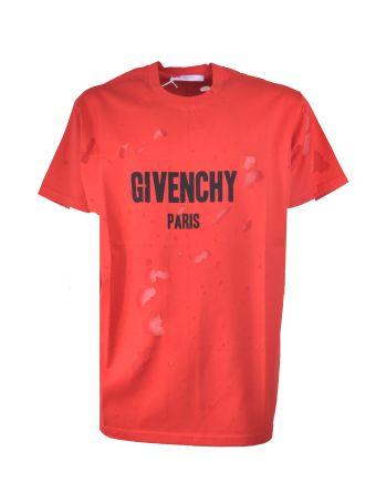 Givenchy Columbian-fit Distressed Logo Print T-shirt
