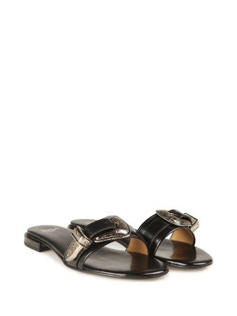 Toga Buckle Leather Slide Sandal