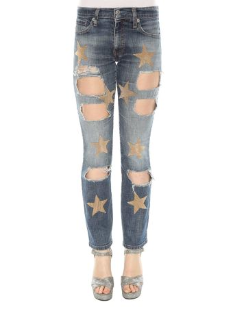 History Repeats Destroyed Embroidered Jeans