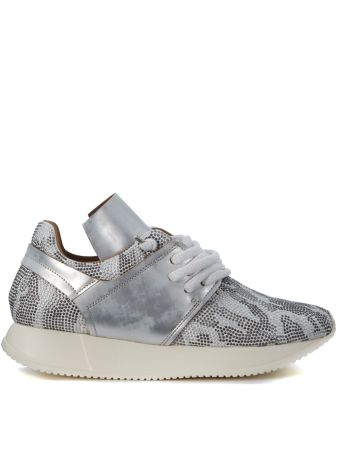Esseutesse Silver Leather Sneaker And Micro Studs