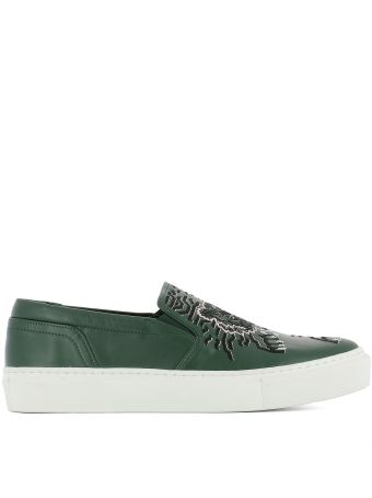 Green Leather Slip On