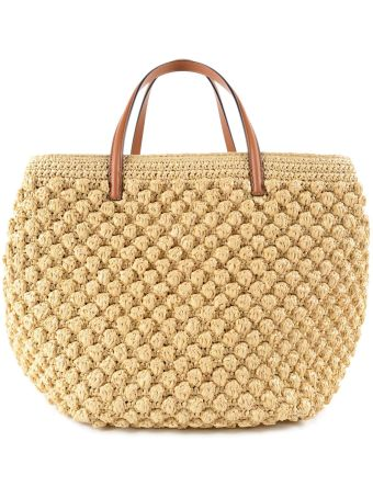 Ermanno Scervino Woven Wicker Shopper Bag