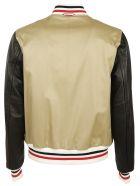 Moncler Gamme Bleu: Beige Stripe Detail Bomber Jacket