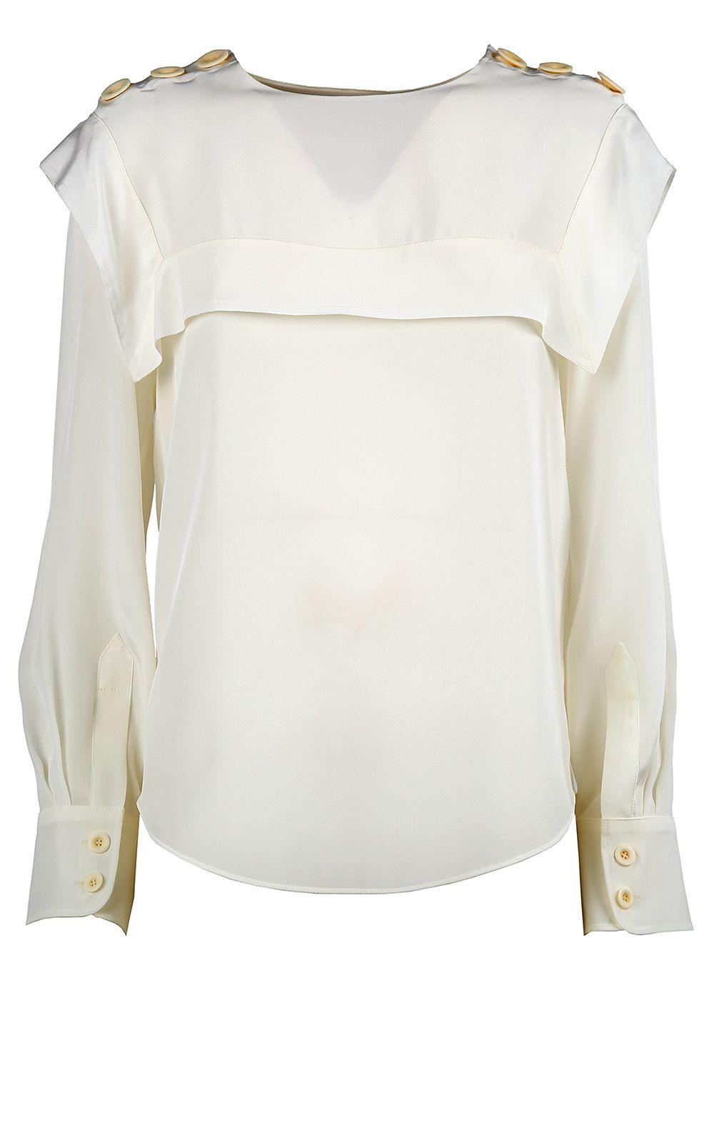 Chloé Buttoned-shoulders Silk Crepe-de-chine Blouse