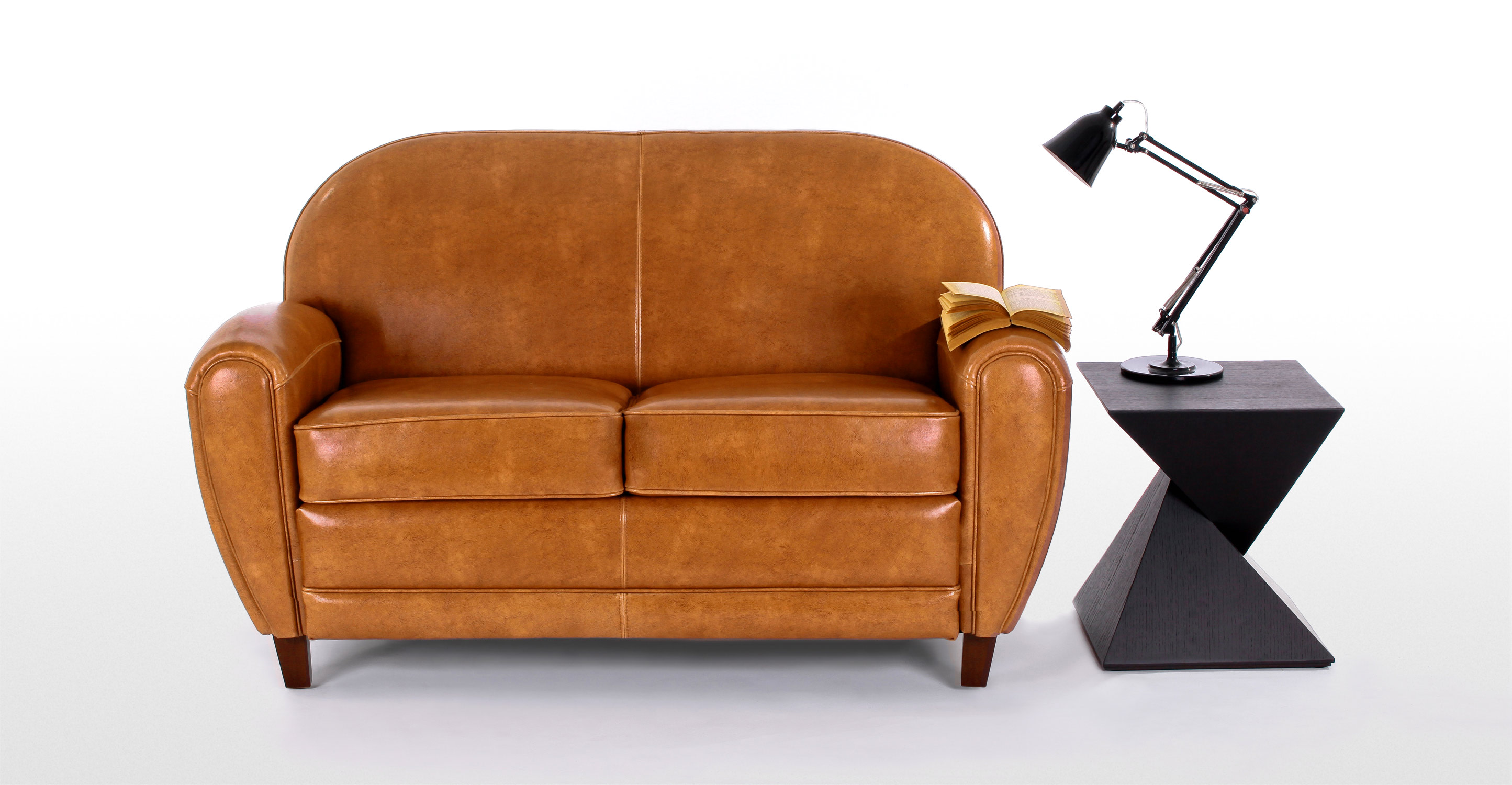 jazz club 2 seater sofa in cognac. Black Bedroom Furniture Sets. Home Design Ideas