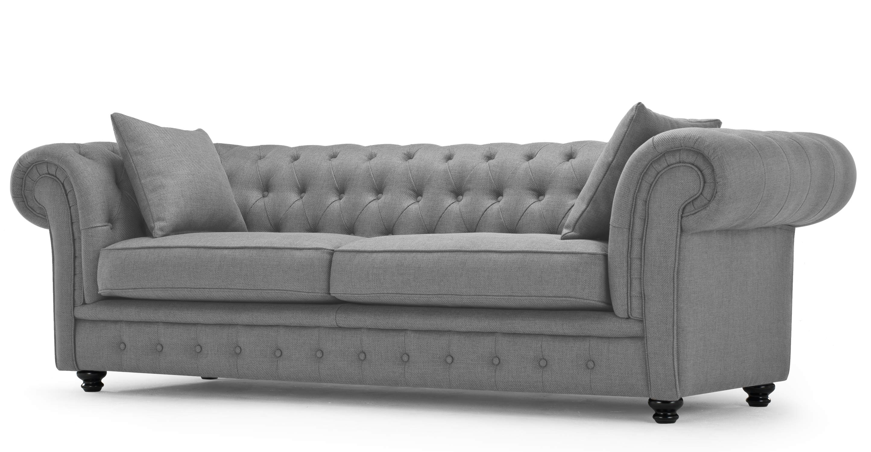Branagh 3 Seater Grey Chesterfield Sofa