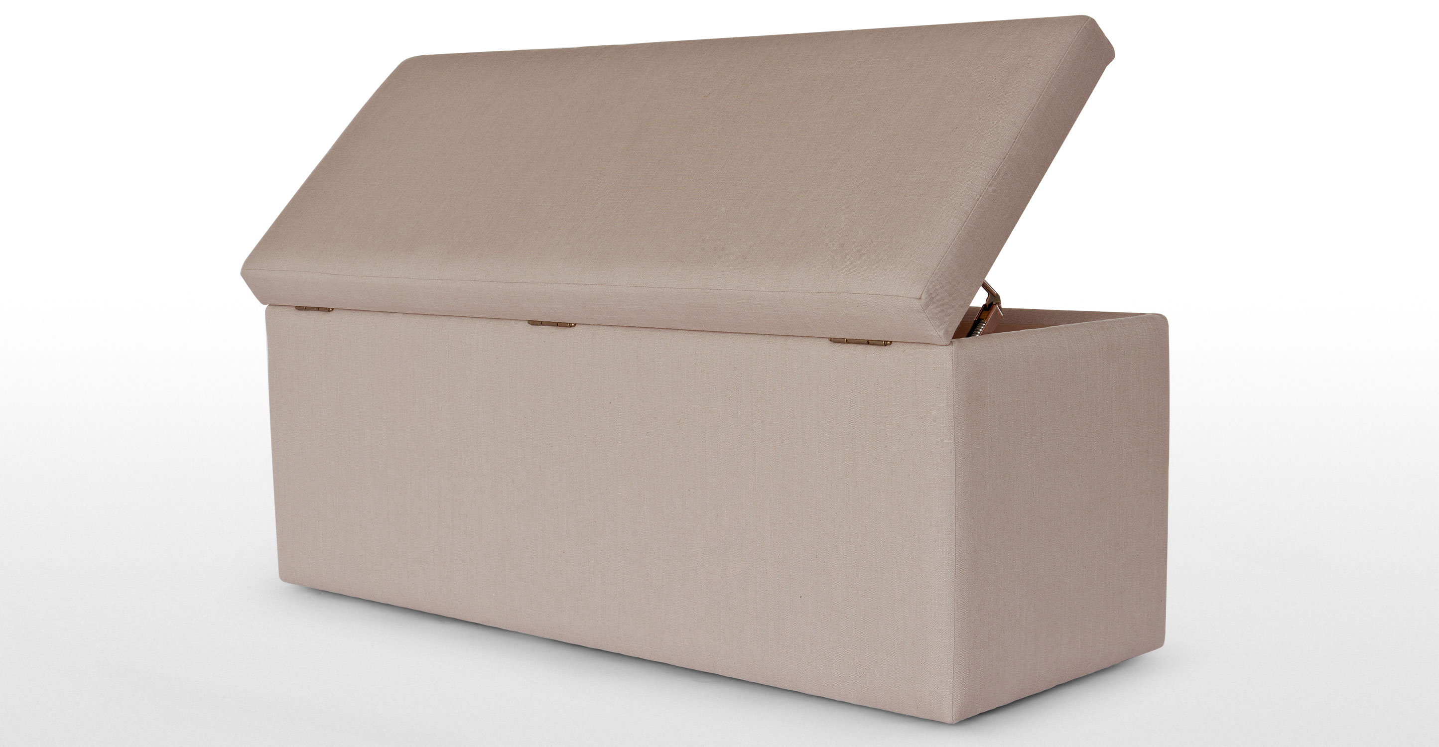 Decker Upholstered Storage Bench In Warm Grey