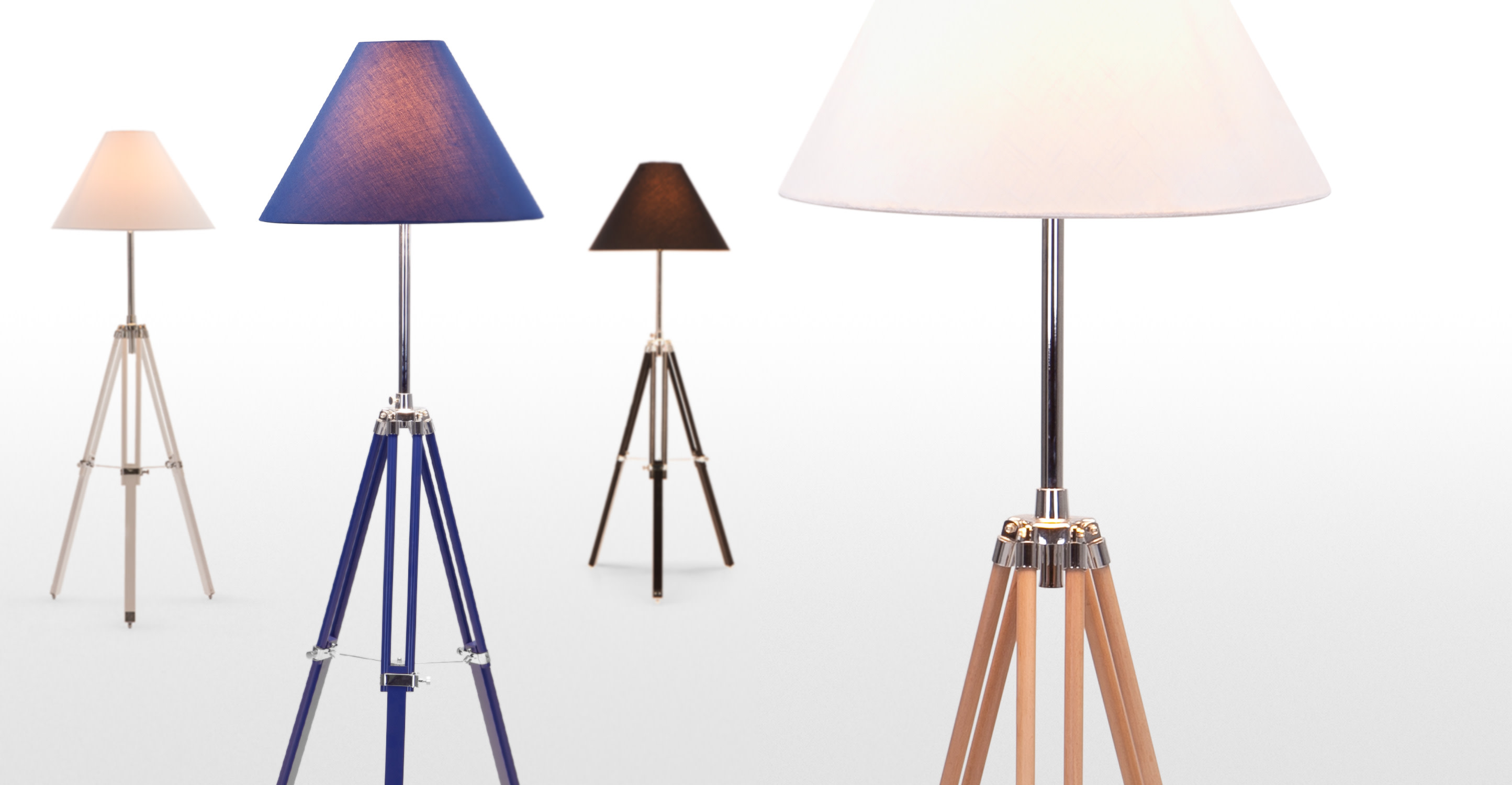 navy tripod floor lamp in natural wood. Black Bedroom Furniture Sets. Home Design Ideas