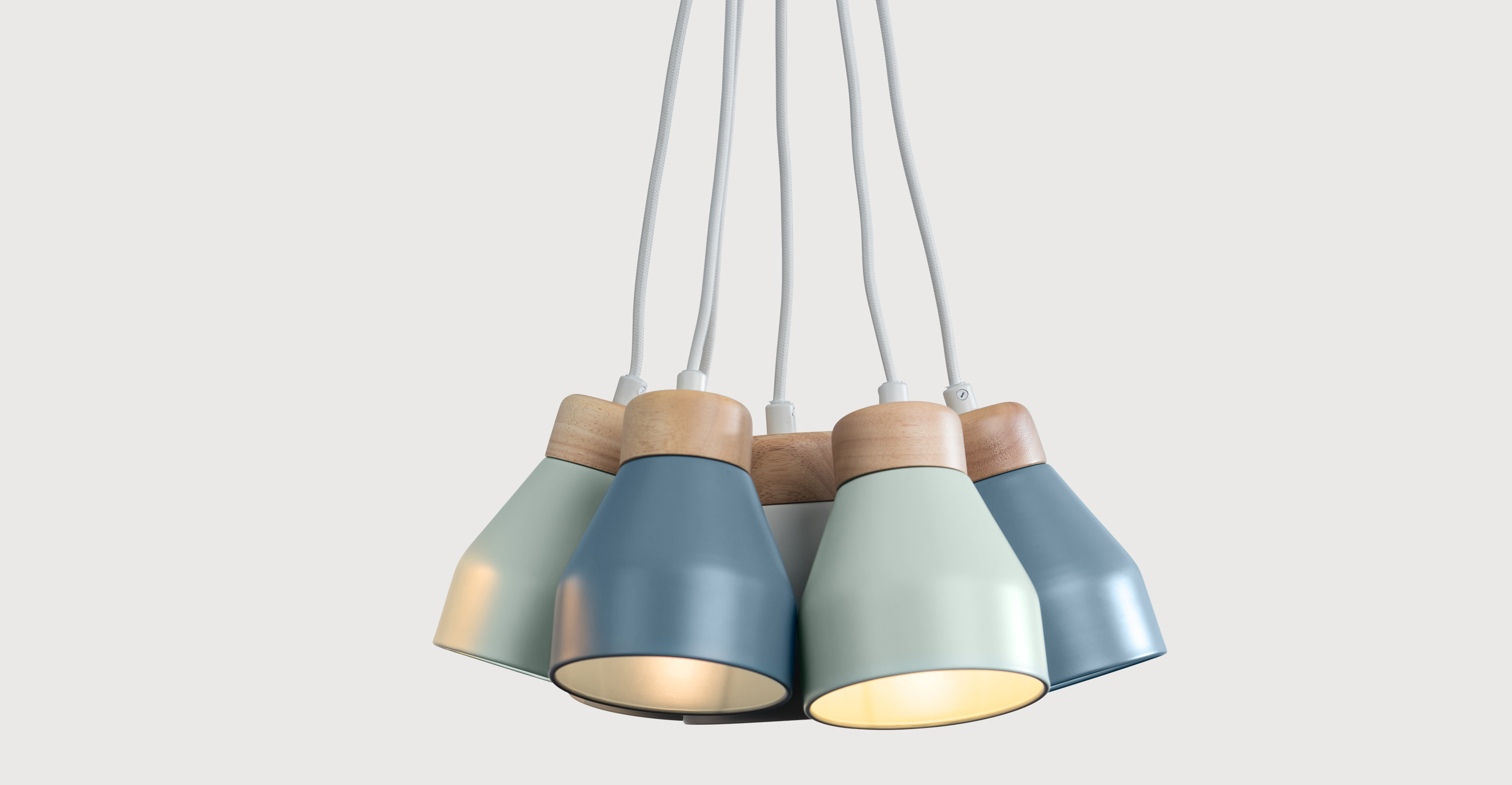 Albert Cluster Pendant Lamp Muted Grey Dusk Blue And