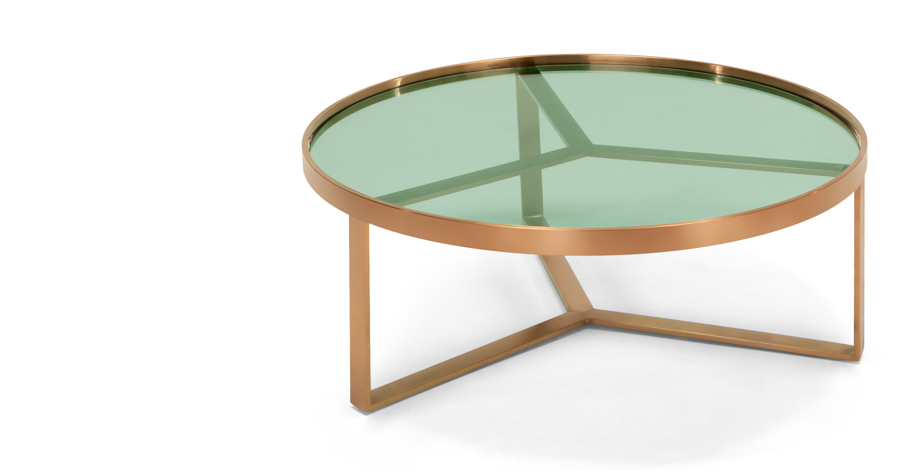 Aula Coffee Table Brushed Copper And Green Glass