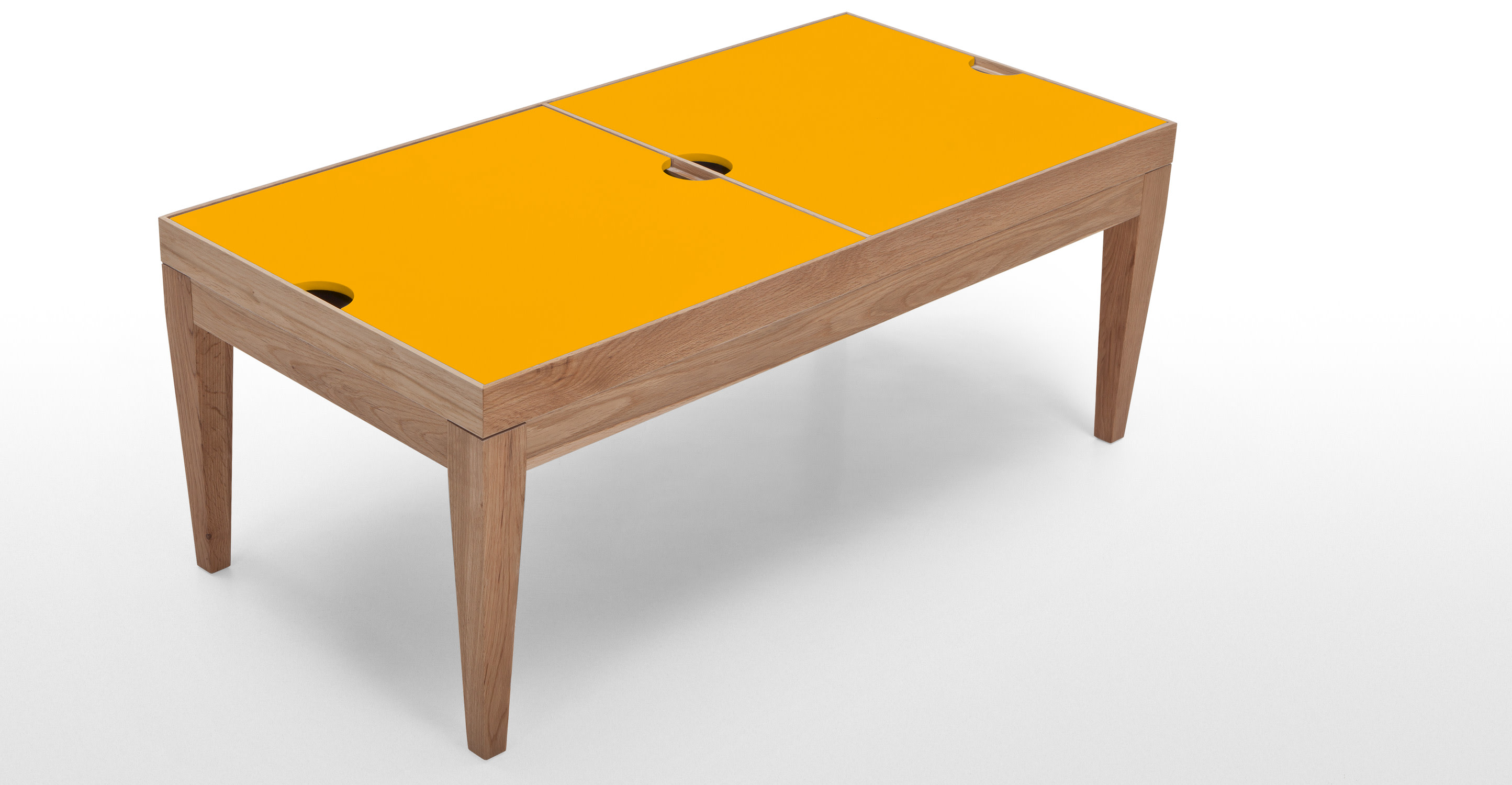 Dorig Storage Coffee Table In Oak And Yellow