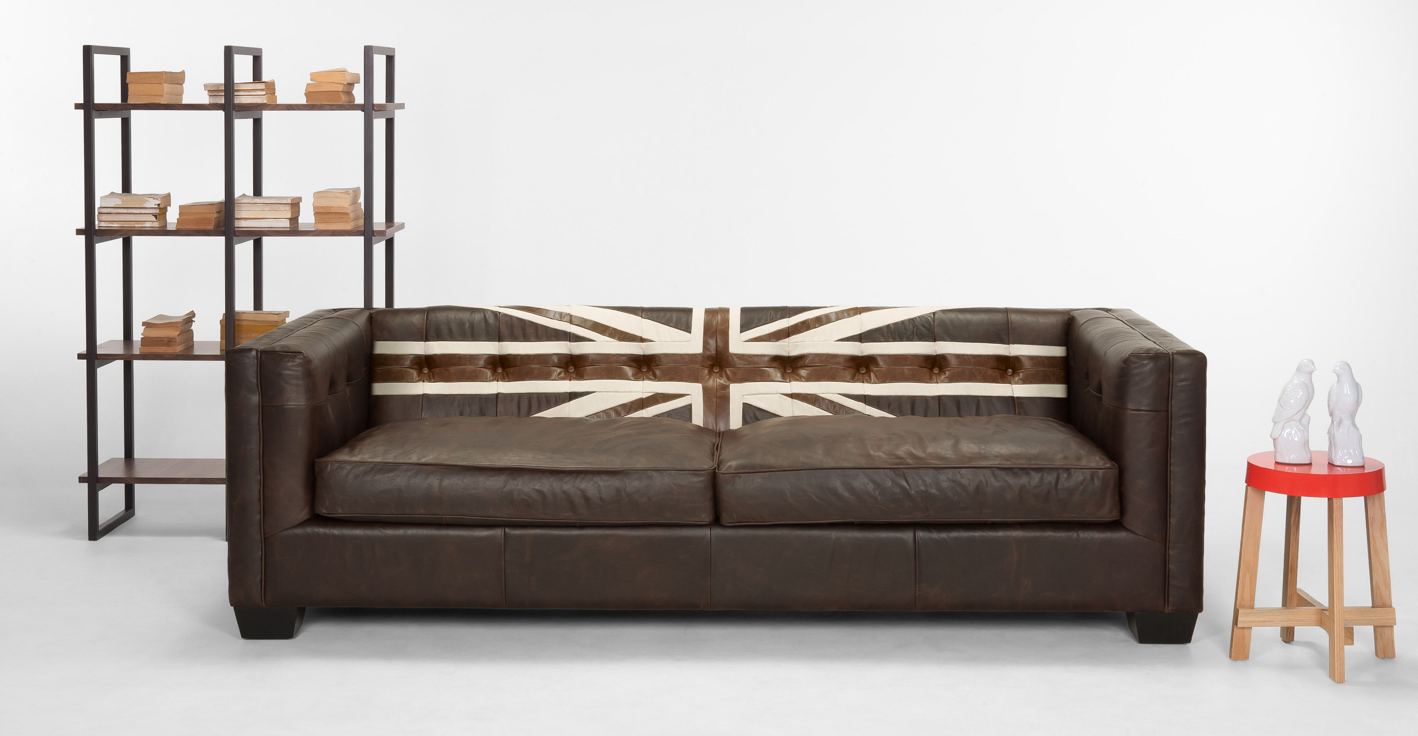 Union Jack 3 seater sofa, in Vintage Brown Leather