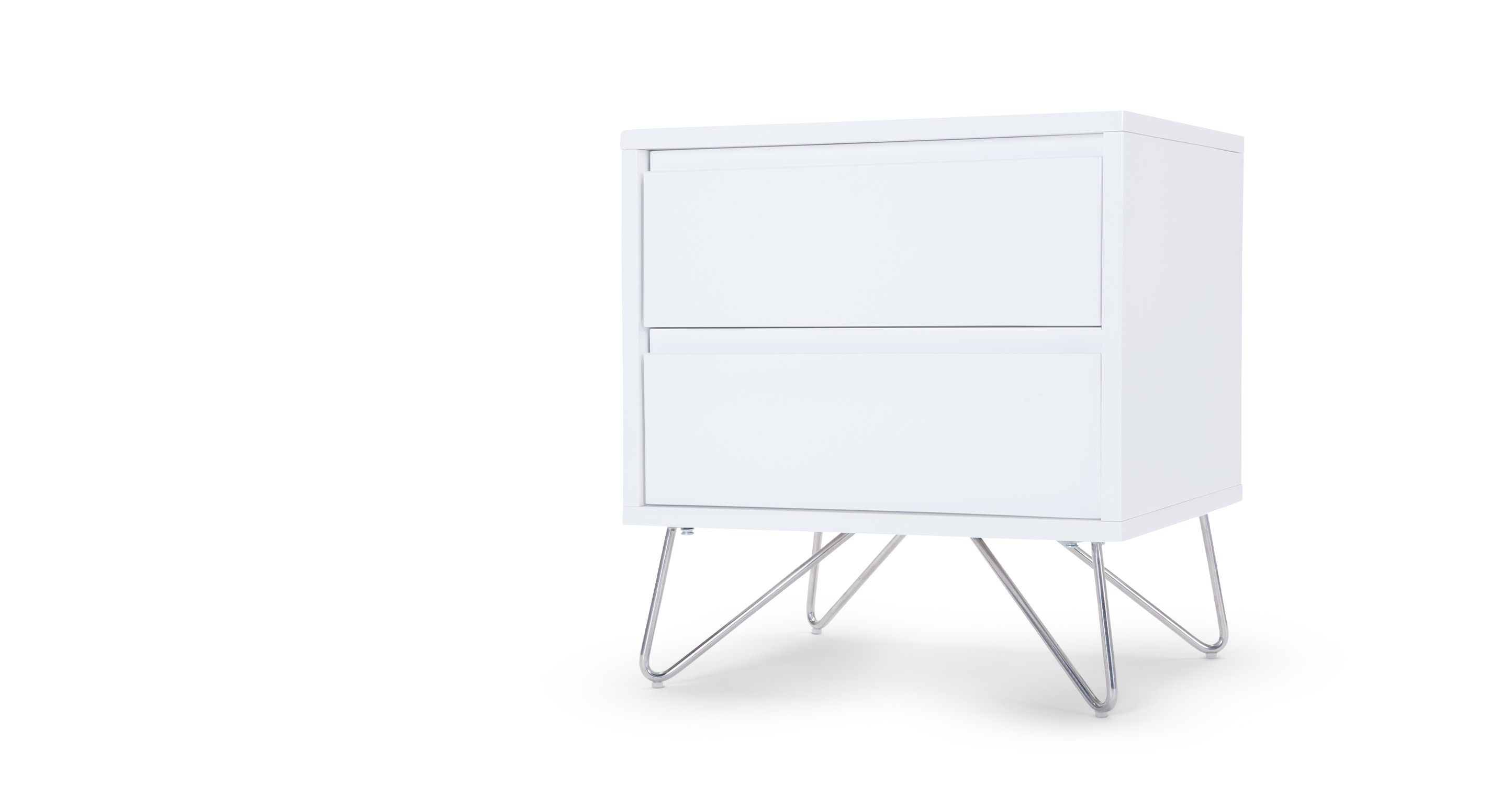 Elona bedside table white gloss - Tables de chevet blanches ...