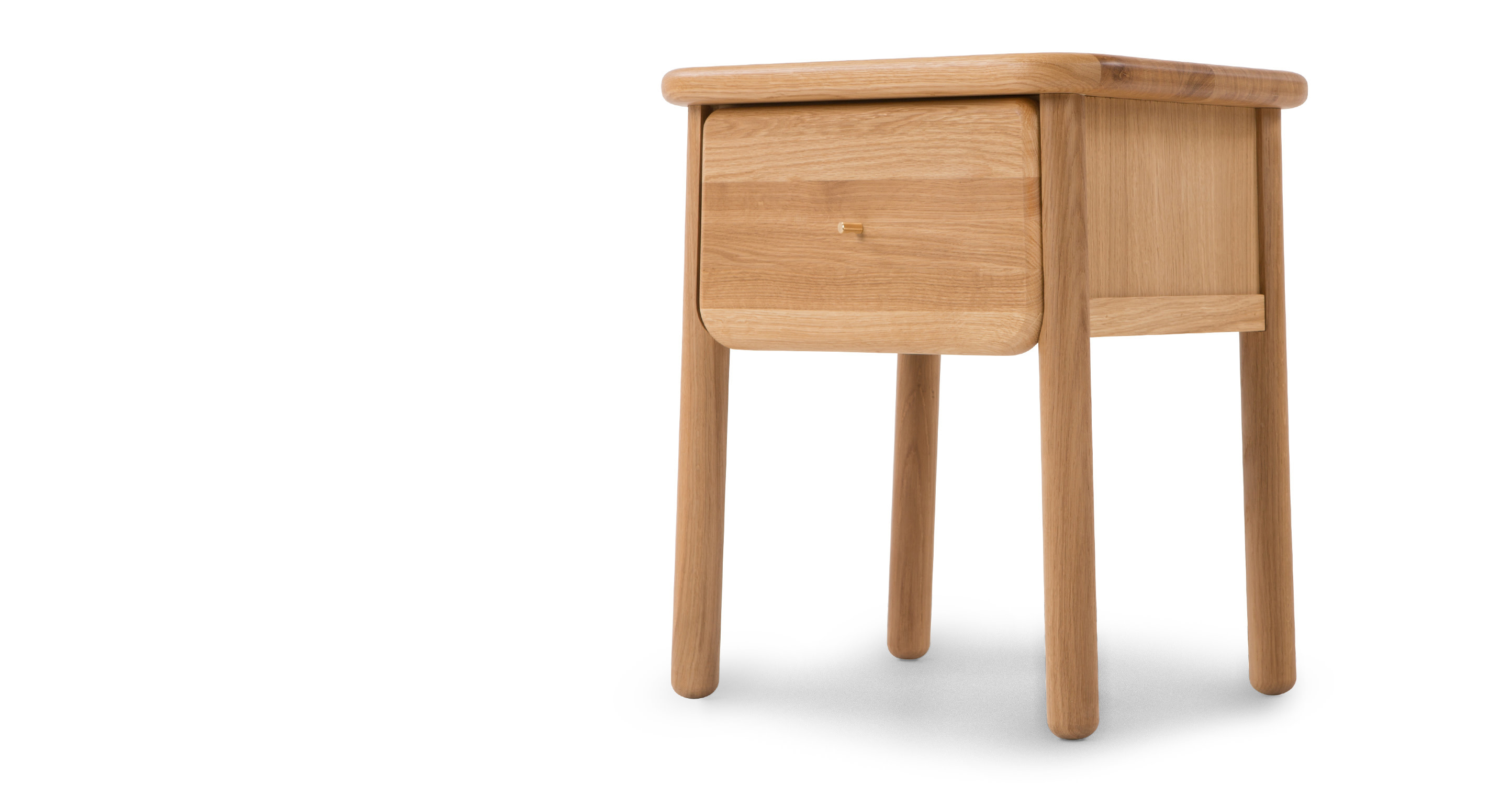 jonah small bedside table oak and brass made com