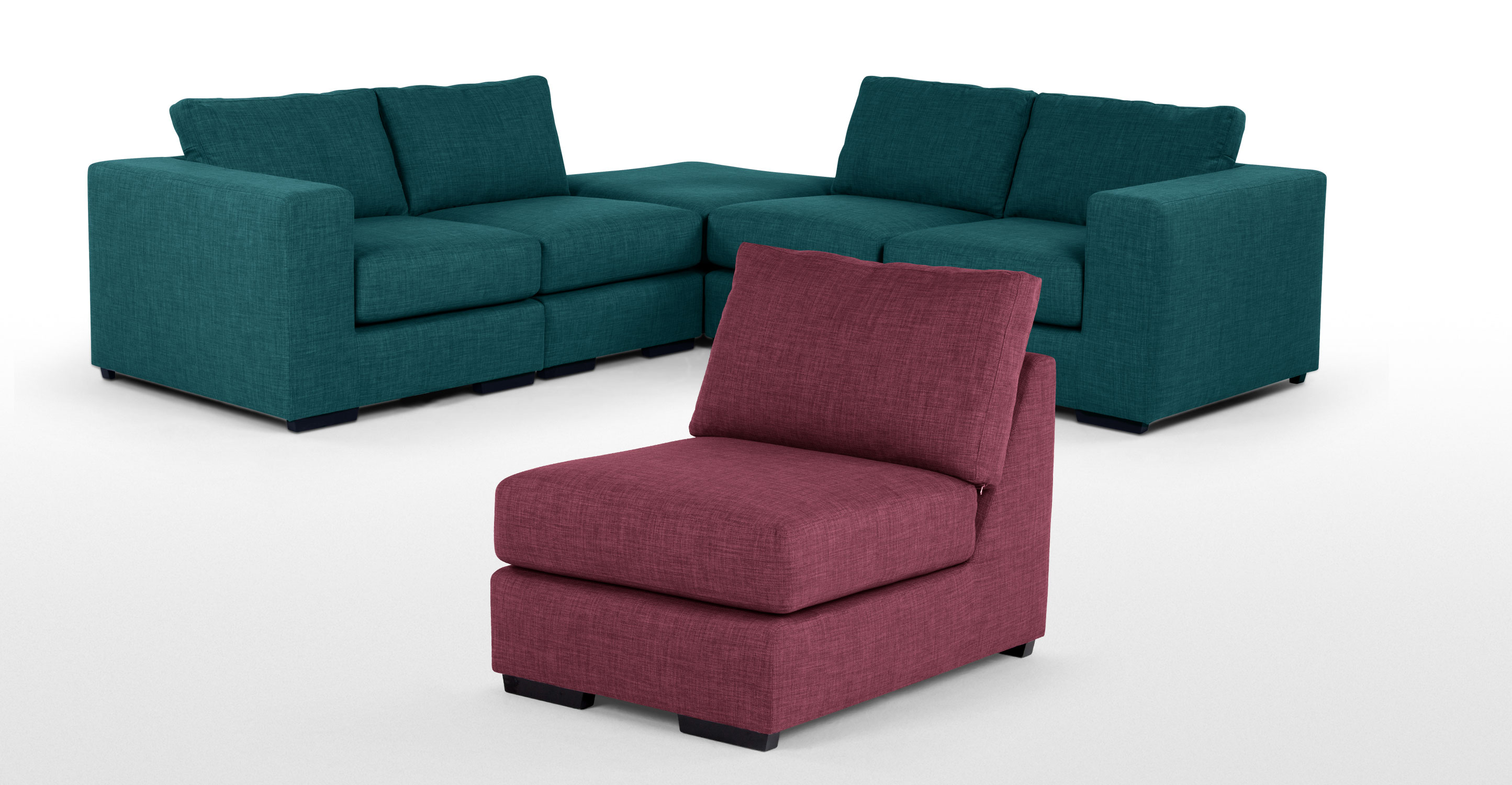 Mortimer 4 Seater Modular Sofa Shadow Teal
