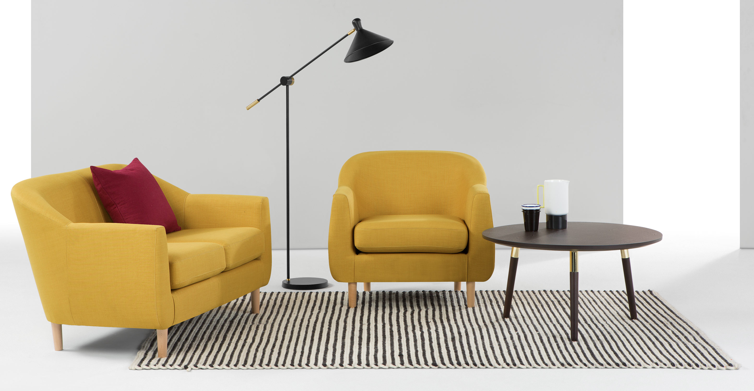 tubby fauteuil retro geel. Black Bedroom Furniture Sets. Home Design Ideas