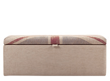 Jack Upholstered Storage Bench, Union Jack