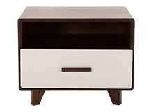 Astaire Bedside Table, Dark Stain Walnut and Grey