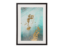 Aurelia Lines Framed Print, Mineral Green and Gold
