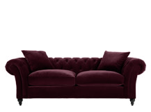 Bardot 3 Seater Chesterfield Sofa, Merlot Velvet