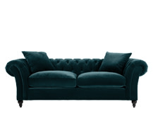 Bardot 3 Seater Chesterfield Sofa, Ocean Blue Velvet