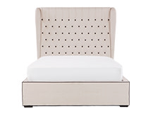 Bergerac Kingsize Bed, Stone with Contrast Piping