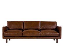 Carey 3 Seater Sofa, Saddle Tan Premium Leather