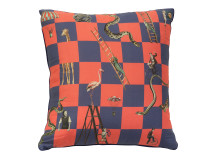 Character Chequer Cushion 45 x 45cm, Red and Marine Blue