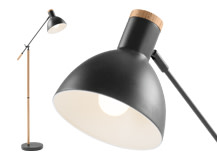 Cohen Floor Lamp, Deep Grey and American Oak