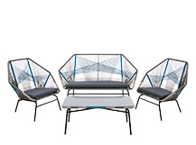Copa Outdoor Lounge Set, Cool Blue
