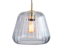 Ewer Pendant Lamp, Smoke Grey Glass and Polished Brass