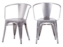 2 x Legend Café Armchairs, Galvanized