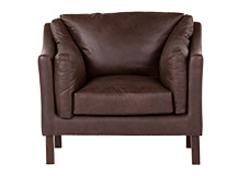 Hendrix Armchair, Saddle Brown Premium Leather