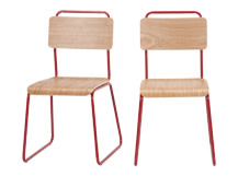 2 x Hill Dining Chairs, Ash and Red