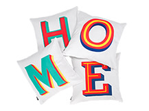 4 x HOME Square Scatter Cushions 45 x 45cm, Multicolour