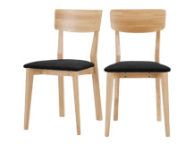 2 x Jenson Dining Chairs, Oak and Dark Grey