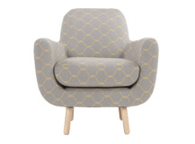 Jonah Armchair, Grey and Yellow Hexagonal Weave