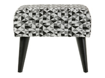 Johan Footstool, Graphic Print Black and Grey