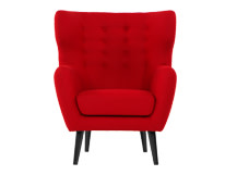Kubrick Wing Back Chair, Rose Red Wool Mix