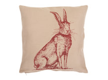 Hare Large Scatter Cushion  50x50cm, Maroon