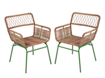 Lyra Outdoor Dining Chair Set, Green
