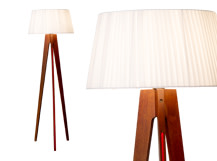 Miller Floor Lamp, Walnut and Red