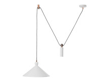 Ogilvy Rise and Fall Pendant, Matt Soft Grey and Copper