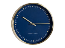 Pickett Wall Clock, Brushed Brass and Navy Blue